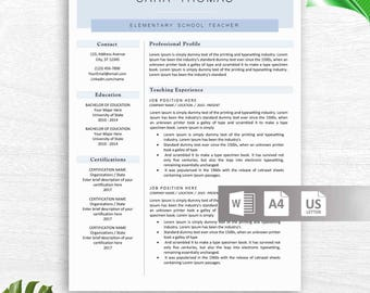 Modern Resume Template for Word, 1 & 2 Page Resumes, Cover Letter, Icons, Creative Resume Template, Instant Download CV, Mac + PC