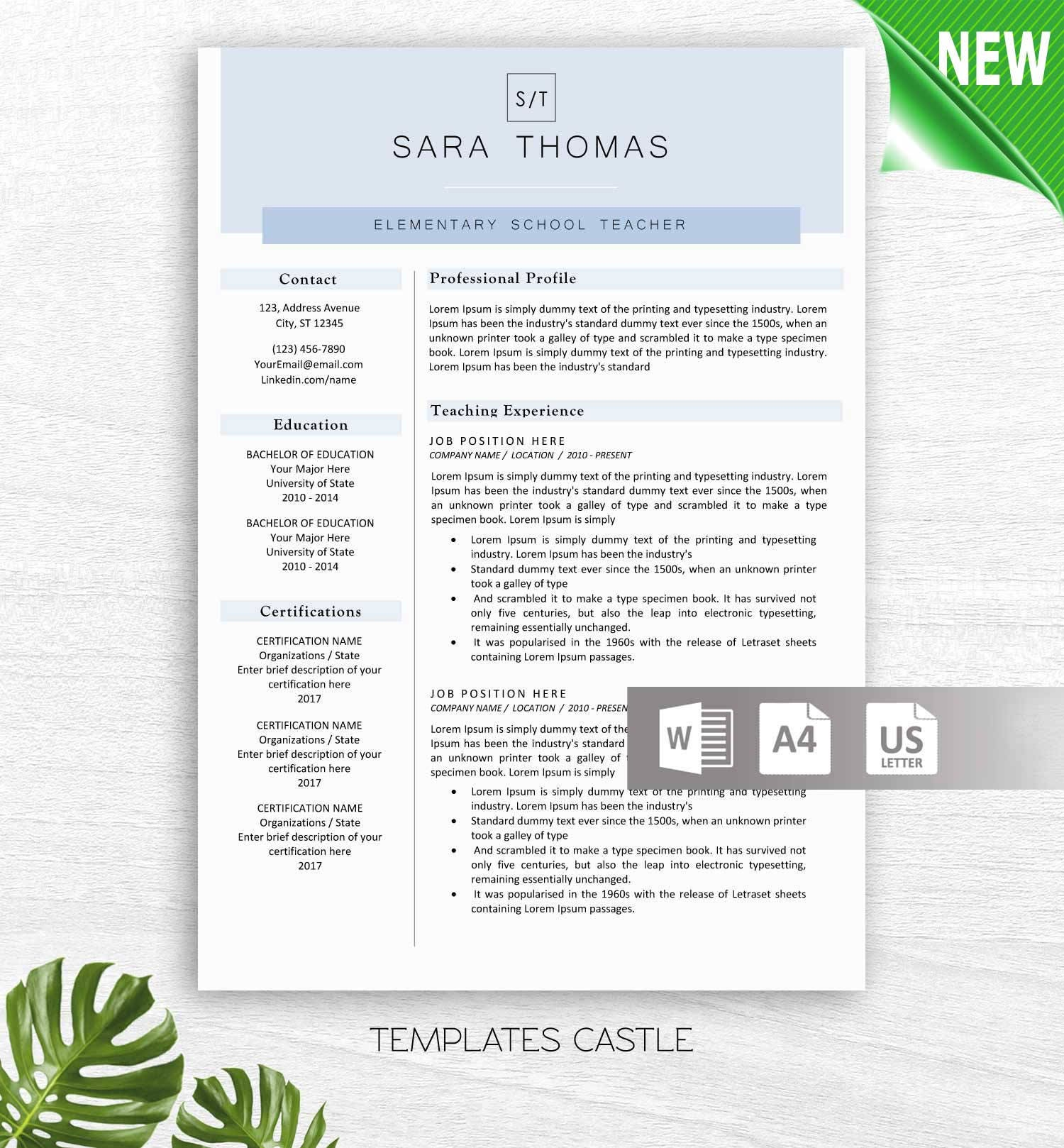 Modern Resume Template for Word 1 & 2 Page Resumes Cover