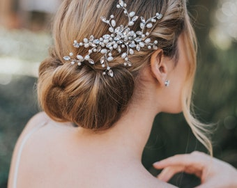 """Hair Comb for Bride , Bridal Comb, Boho Hair Comb, Wedding Comb - """"Gwen"""" Small Hair Comb (Silver, Silver with Opal, Gold or Rose Gold)"""