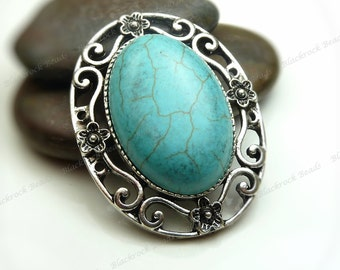 Turquoise Blue Magnesite Oval Gemstone Connector Antique Silver Tone - Ornate Floral Pattern - 32x42mm - BK36