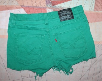 LEVI'S green denim cut off shorts W32