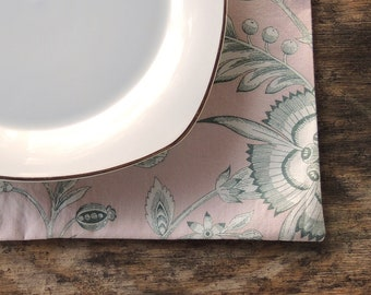 Pink and Green Floral Toile Lined Cotton Placemats Set of 4 Lined Mats Custom Order Table Mats Table Linens Housewarming Gift