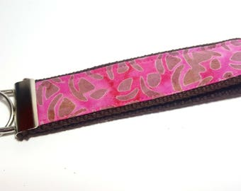 Brown Spotted Animal-like Motif with Magenta Pink Keychain FOB on Brown Heavy Duty Cotton Webbing