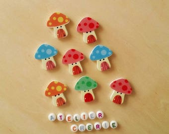"Set of 5 buttons in wood ""mushroom house"" / ""Mushroom House"" - multicolored"