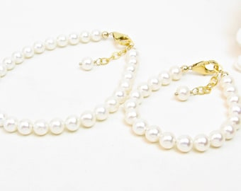 Matching Mother Daughter Pearl Bracelets - Mom and Baby Matching Jewelry - Mommy and Me - Gold-Filled Clasp - 5.5mm Freshwater Pearls