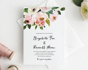 Floral Wedding Invitation Suite, Garden Wedding Invitation, Printable Wedding Invitation Set
