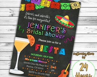 Fiesta Bridal Shower Invitation, Mexican Bridal Shower Invitation, Fiesta Bridal Shower,  Mexican Invitation, Tequila Invitation, Printable