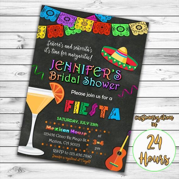 fiesta bridal shower invitation mexican bridal shower