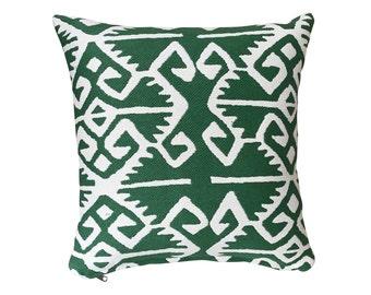 Manuel Canovas - Kerala Prairie - White woven pattern on green ground Square pillow