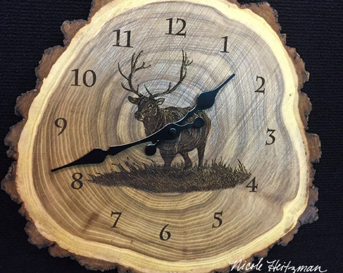Engraved Wood Clock Elk Art Elk Clock Wildlife art Father's Day gift for Dad men Lodge Cabin Art Man cave Elk hunting art by Nicole Heitzman