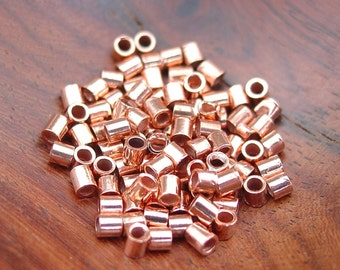2x2mm Copper Crimp Tubes, 1.2mm inside diameter (100 or 500 or 1000 pcs)