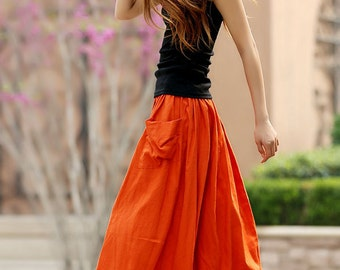 holiday skirt, linen skirt, orange skirt, A line skirt, maxi skirt, circle skirt, womens skirts, full skirt, elastic waist skirt  (958)