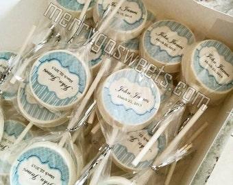 Edible Favors // personalized lollipops // Custom Edible Favors // Customized Party Favors // Chocolate Lollipops // Trellis Design Lollipop