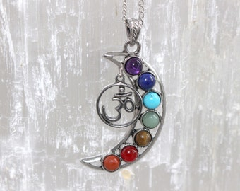 Aum Crescent Moon Chakra Necklace / Om Symbol / Healing Necklace / Yoga Gift