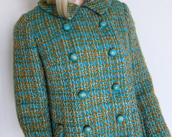 60s Lord & Taylor Olive Aqua Wool Jacket - Tailored Vintage - Young New Yorker - 1960s Jacket - Small
