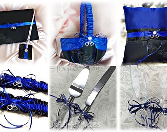 Thin Blue Line handcuff charm wedding decorations, glasses, cake set, garters, pillow, basket, guest book and pen, royal blue and black.