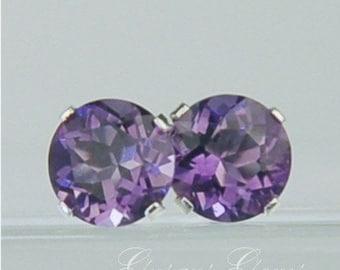 Memorial Day Sale Amethyst Stud Earrings Sterling Silver 6mm Round 1.55ctw