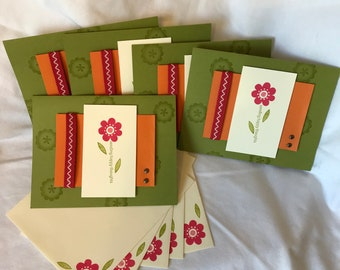 Sending Happy Thoughts Set of 5 Stamped Note Cards with Envelopes - Blank Note Cards - Green - Landscape