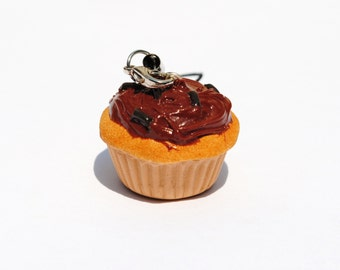 Vanilla Cupcake w/Chocolate Frosting & Sprinkles Polymer Clay Cell Phone Charm