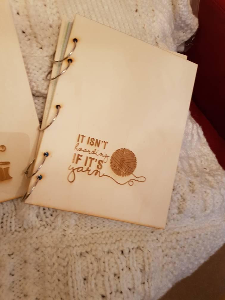 Pattern Folder For Knitting Crochet Patterns Engraved Birch Wood