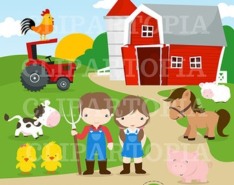 Farm Digital Clipart / Barnyard Clipart / Farm Animals For Personal And Commercial Use / Instant Download