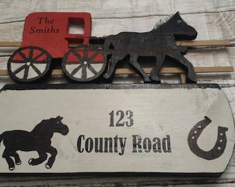 Horse address sign, Personalized address sign, House address sign, Horse & buggy, House number sign, address sign, farm address sign, road #