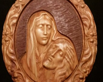 Original Carved Wooden Icon of Mary Holding Jesus