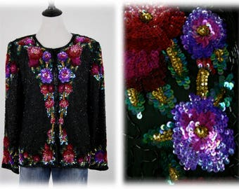 1980s Laurence Kazar New York Beaded and Sequined Evening Jacket PL