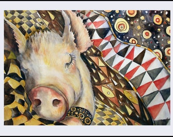 "Whimsical pig art print ""May All Your Dreams Come True"" Art from Original Watercolor potbelly funny animal art"