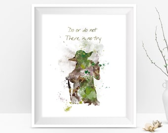 Yoda Art Print Yoda Quote Do or do not Star Wars Movie Poster Star Wars Art  Star Wars Gift Wall Art Watercolor Painting Digital Download