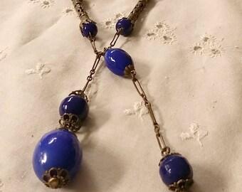 Vintage Art Deco Molded Cobalt Blue Glass Bead Brass Chain Flapper Sautoir Dangle Necklace