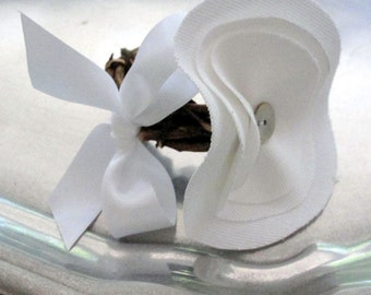 Prairie Chic White Cotton or Natural Canvas Millinery Flower Napkin Rings - Original Design by Suzanne MacCrone Rogers - Set of Four {4}