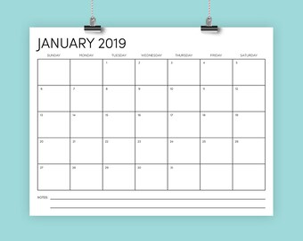 8.5 x 11 Inch 2019 Calendar Template | INSTANT DOWNLOAD | Modern Sans Serif Type Monthly Printable Minimal Desk Wall Calender | Print Ready