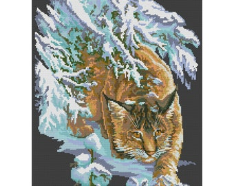 Cross Stitch Pattern Lynx counted embroidery