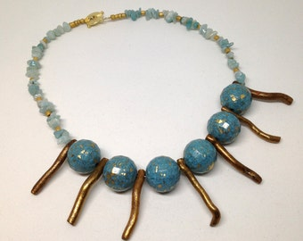 Gold coral and amazonite necklace