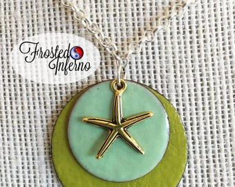 Starfish with enameled copper pendants necklace
