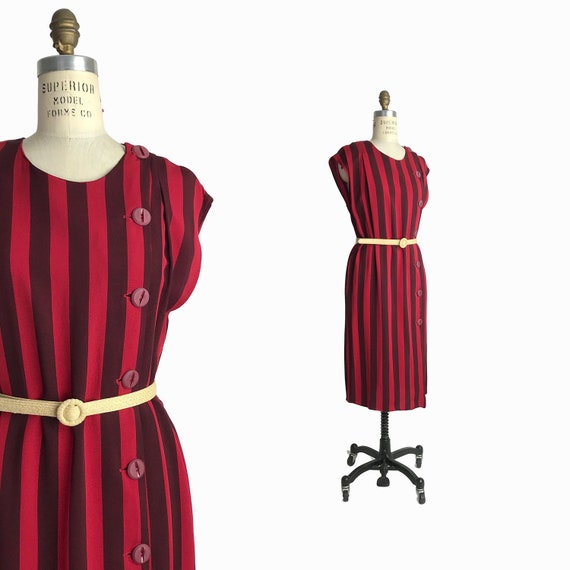 Vintage 1980s Red Vertical Striped Dress / Scarlet Stripe Dress / Button Front Dress - women's medium