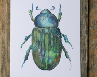 Beetle - Art Print - Watercolor Insect Illustration