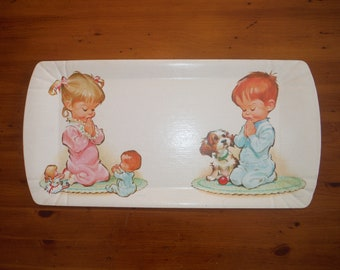 Vintage 1960's Children Praying Nursery Bedroom Decor - '60's Pete Hawley Wall Decoration Plaque - Baby Child Shabby Chic Artwork