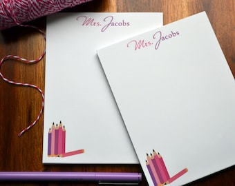 Personalized Notepads / Personalized Tacher Notepads / Personalized Teacher Notebook / Set of Notepads /  Set of 2 Write Teacher Design
