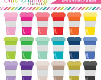Colorful Coffee Cups Clipart Graphics in 18 Colors Personal & Commercial Use Coffee Clip Art