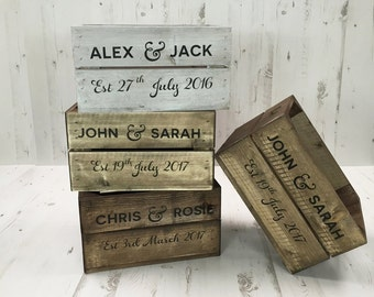 Personalised Wooden Wedding Crate