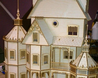 1:24 Scale Wood Gothic Victorian Dollhouse Kit, Ashley Series