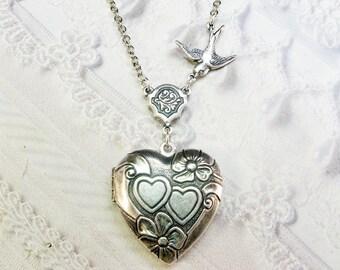Silver Locket Necklace - Silver Heart Locket - Bird Heart - Valentine's Day Wedding Bridesmaid Birthday