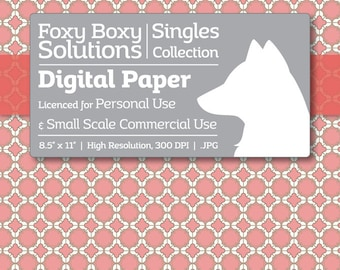 Moroccan Digital Paper - Single Sheet in Pink and Cream - Printable Scrapbooking Paper