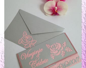 Pouch - Chic wedding invitation elegant and romantic Flower: rose