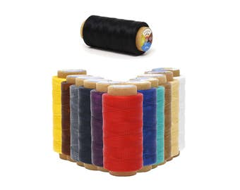Mandala Crafts 150D 0.8mm, 250M, Leather Sewing Stitching Flat Waxed Thread String Cord, Many Color Selections