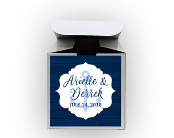 Nautical Wedding Favor Boxes - Set of 12 Personalized Treat Containers with Anchor Stickers for Party Favors, Gifts - White Tuck Top Boxes