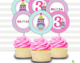 Owl Birthday Cupcake Toppers | Printable Cupcake Toppers | Party Circles | Owl | Design 16067