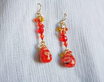 Orange Millefiori Glass Teardrop Earrings